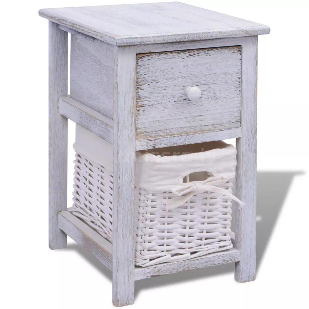 vidaXL Shabby Chic Nachttisch Schränkchen Holz Weiß H5K8 | eBay