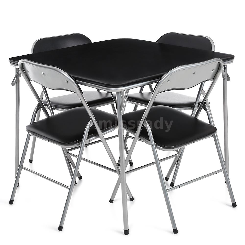 table manger pliante et 4 chaise picnic de camping ext rieur ikayaa noir p2e3 ebay. Black Bedroom Furniture Sets. Home Design Ideas