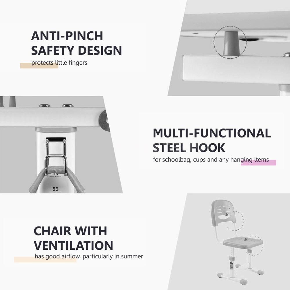 h henverstellbar kinderschreibtisch sch lerschreibtisch mit kinder stuhl t3a3 ebay. Black Bedroom Furniture Sets. Home Design Ideas
